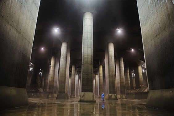 Japan, 2009  Located near Tokyo, the Metropolitan Area Outer Underground Discharge Channel attracts tourists with its temple-like design, but its purpose is to prevent major waterways and rivers from overflowing during heavy rains and typhoons.