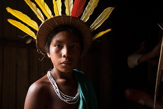 Rio Piraparaná, Northwest Amazon, Colombia To the Barasana, a corona of oropendola feathers really is the sun, each yellow plume a ray.