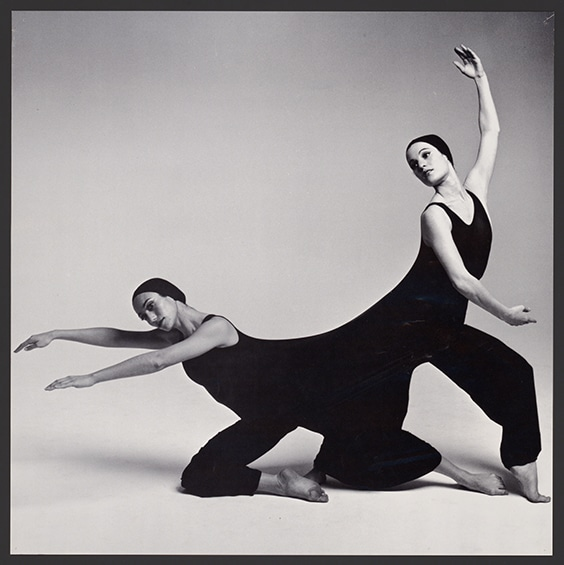 "Dancers perform Inscape in a ""duotard"" designed by Rudi Gernreich, California, c. 1976"